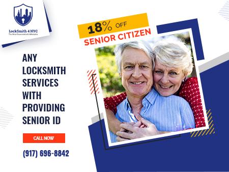 18%OFF - Senior Citizen- Any Locksmith Services with providing senior ID