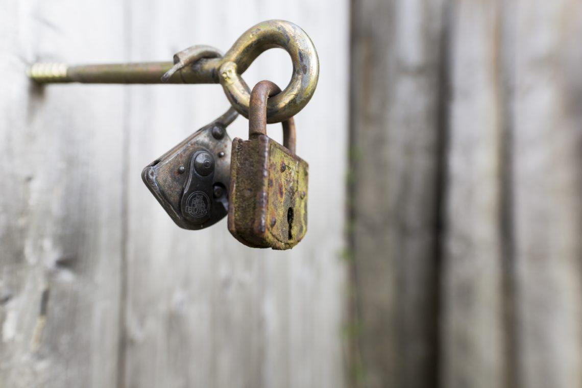 Closeup of 2 locks on a hook